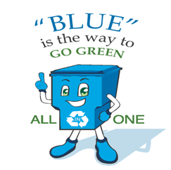Blue is the way to go green all in one blue reycyle bin