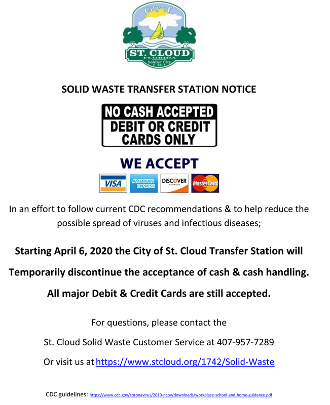 St Cloud Solid Waste Transfer Station - No Cash Accepted Notice - Apr 6 2020