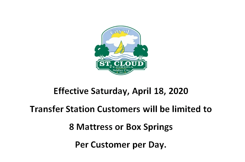 Transfer Station Mattress Limit - 4-18-2020