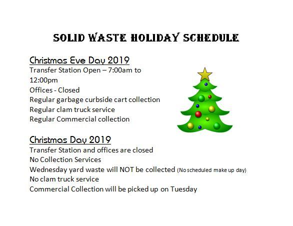 Solid Waste Christmas  Schedule